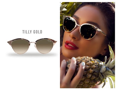 Quay x Shay Mitchell Tilly Gold Metal Frame Cat Eye Vintage Retro Sunglasses