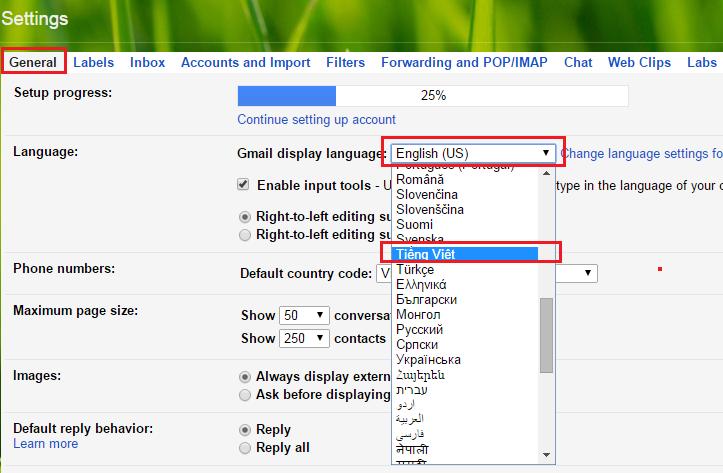 Cách thay đổi ngôn ngữ trong gmail đơn giản nhất 3