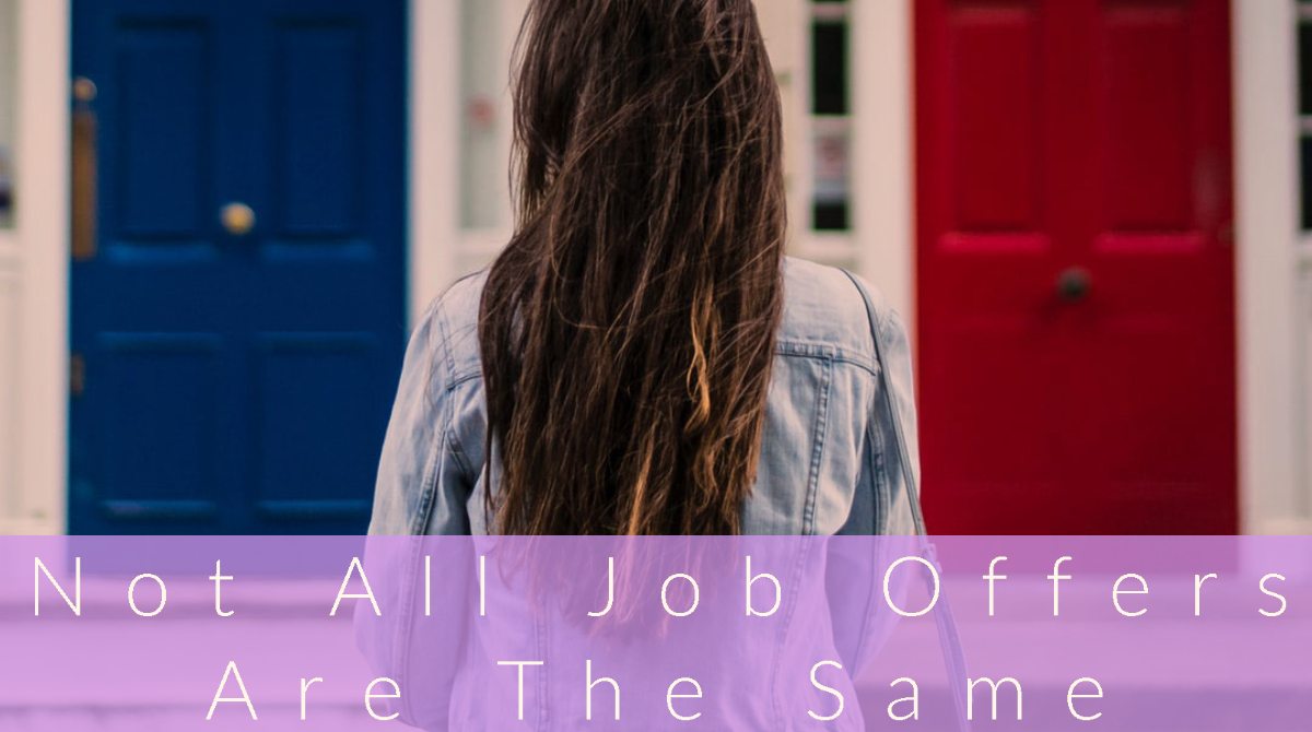 Woman standing before a red door and a blue door, text not all job offers are the same