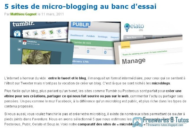 Le site du jour : 5 sites de micro-blogging au banc d'essai