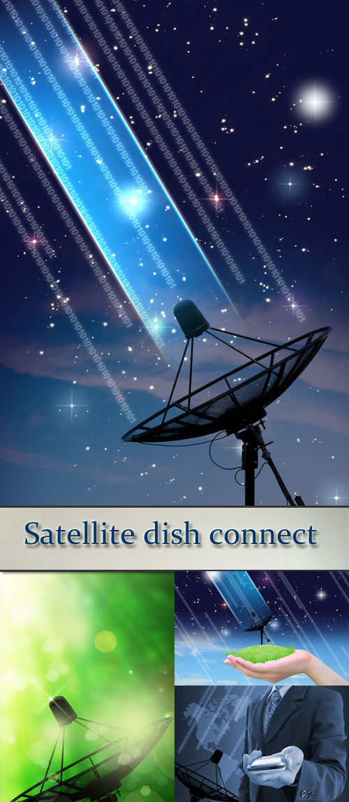 Stock Photo: Satellite dish connect in women hand