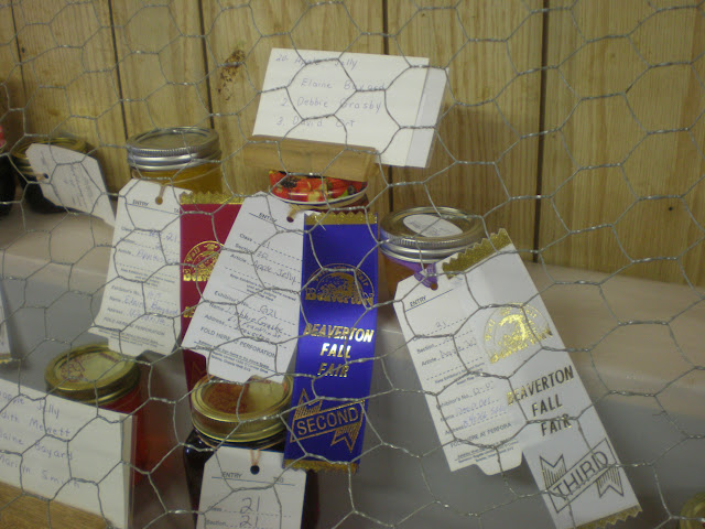 My third-place apple jelly. Note the Canadian system where red ribbons go to first place, blue to second, and white to third.