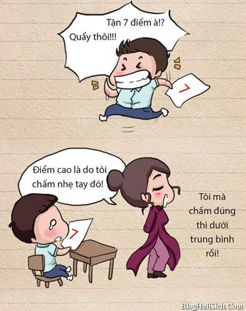 Tranh vui cô giáo trả bài kiểm tra
