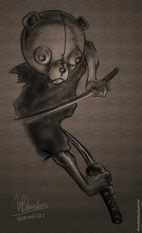 Sketch of Jinno from Afro Samurai, using Krita 2.5 Alpha
