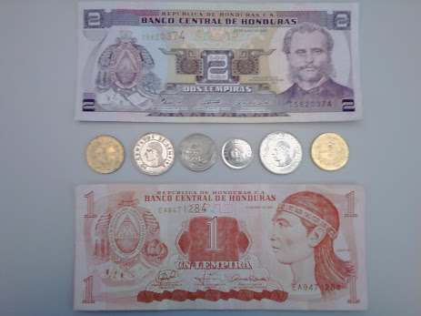 notes and coins from Honduras