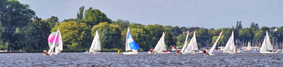 J/22s sailing Alster Lake, Hamburg, Germany