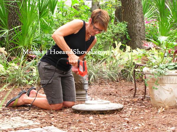 Hoe and shovel how to create a succulent bird bath for Making a concrete birdbath