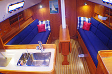 J/109 cruiser racer sailboat- cabin interior