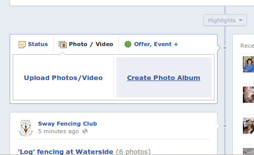 Facebook photo album option