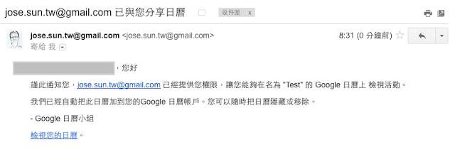 inform mail of shared Google calendar