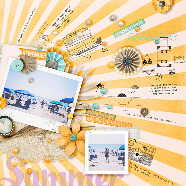 Summer // Scrapbook Layout // 12X12 // Hand Drawn Pencil Doodles