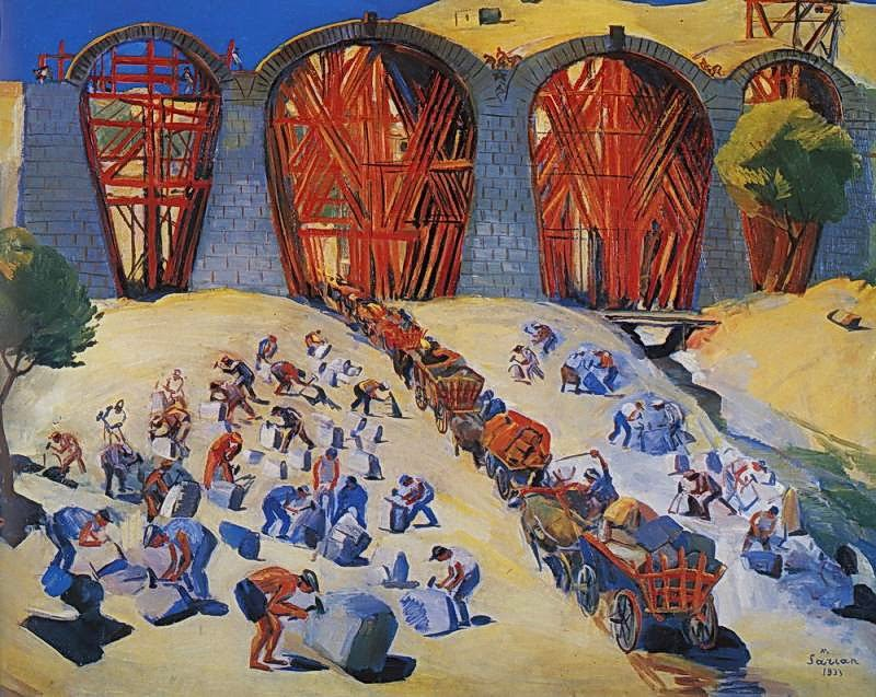 Martiros Saryan - Construction of bridge, 1933