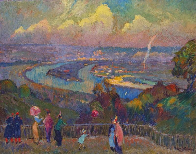 Robert Antoine Pinchon - Rouen, La Seine, vue depuis le hauteurs de Caudebec