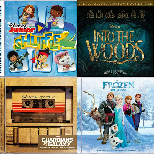 Great new Disney music CDs and soundtracks are available, including Disney's Into the Woods, Guardians of the Galaxy Awesome Mix Vol. 1, Disney Junior DJ Shuffle 2, and Disney Frozen The Songs