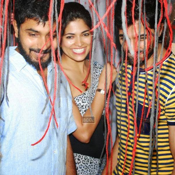 Akshay Akkineni, Parvathy Omanakuttan and Akshay Oberoi arrive to promote their movie Pizza 3D, held at Malad, on July 11, 2014.(Pic: Viral Bhayani)