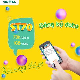 Miễn phí 30GB chỉ 70.000 đ Gói ST70 Viettel