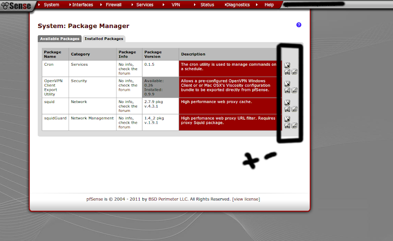 System: Package Manager pf sense