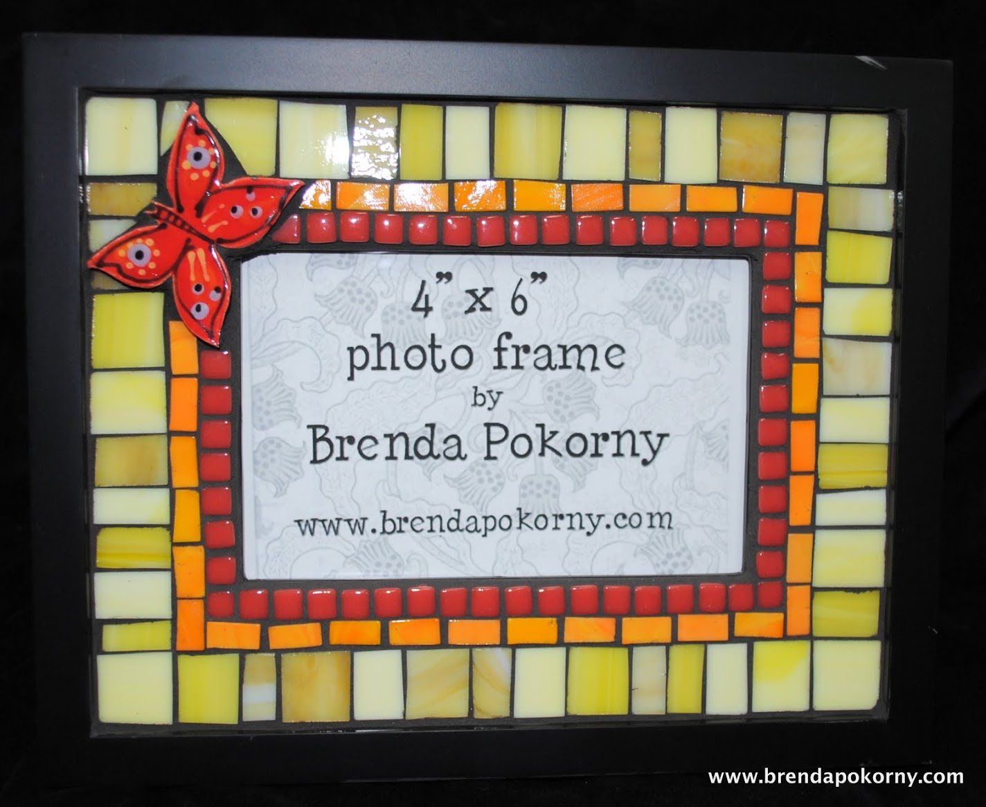 MOF1368 Red Butterfly in A Yellow Garden Mosaic Photo Frame