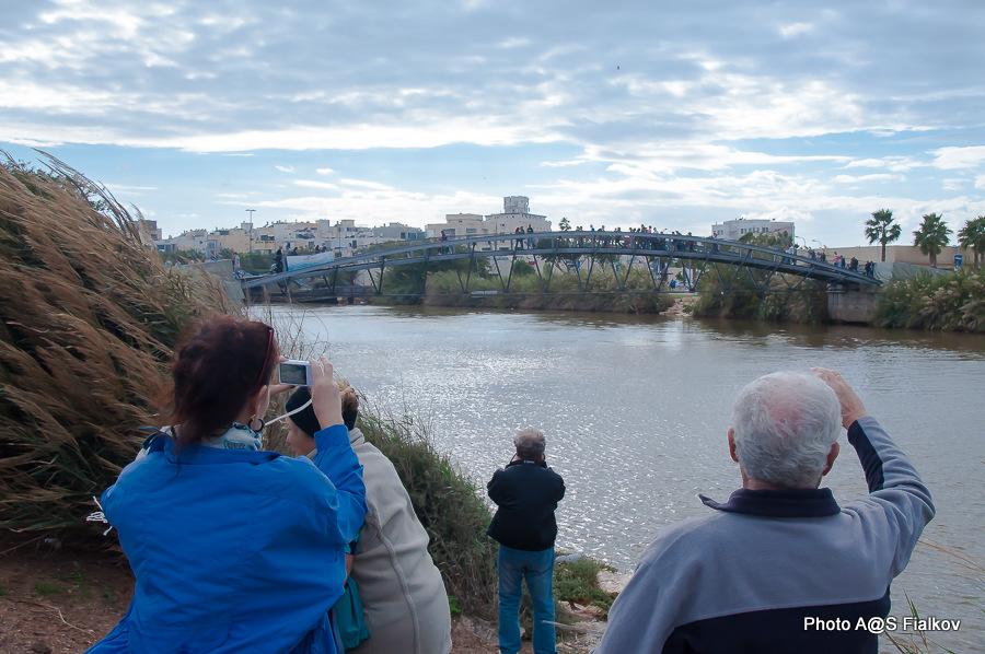 Мостик в устье реки Яркон. Экскурсия по реке Яркон в Тель Авиве и Яффо. Гид в Израиле Светлана Фиалкова.