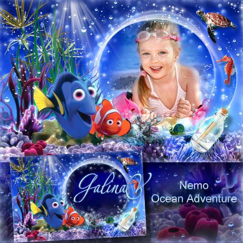 Детская фоторамка с героями мультфильма - Немо, приключения в океане