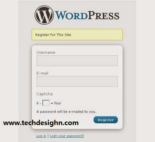 wordpress login form