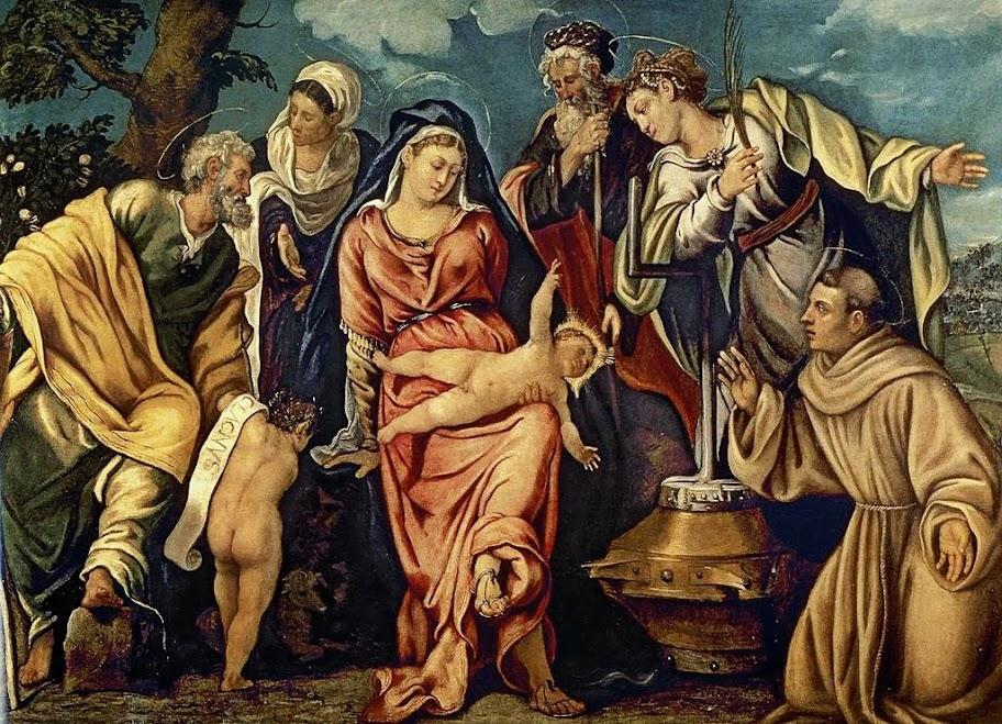 Tintoretto - Sagrada Familia con San Juanito, Zacarías, San Francisco, Santa Isabel y Santa Catalina