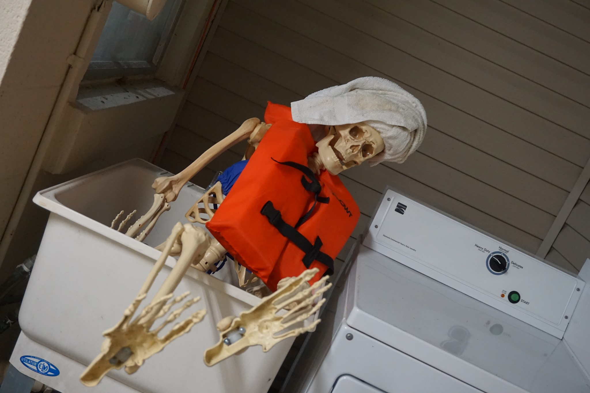 Skeleton with a lifejacket and towel in laundry room at campground