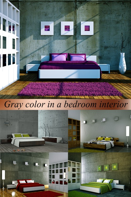 Stock Photo: Gray color in a bedroom interior
