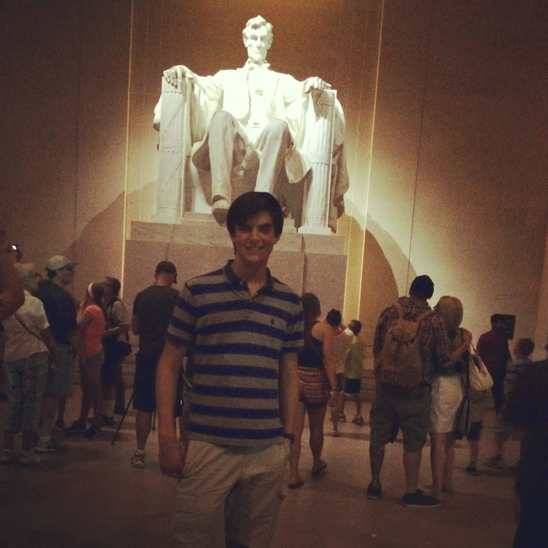 Jesse Herrick in front of the Lincoln Memorial
