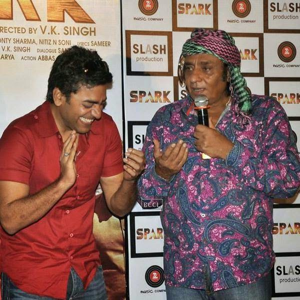 Ranjeet and Ashutosh Rana enjoy a wisecrack during the trailer launch of Bollywood movie Spark, held at PVR in Mumbai, on July 21, 2014.(Pic: Viral Bhayani)