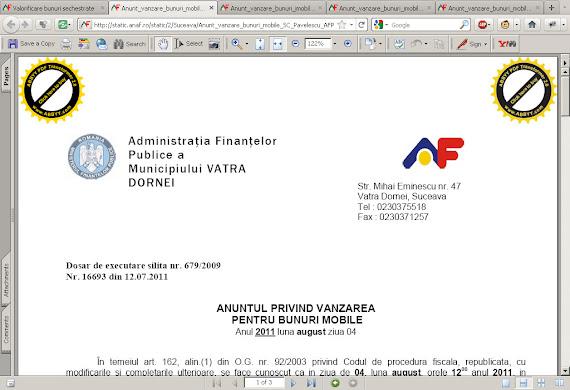 Document al Administraţiei Finanţelor Publice a municipiului Vatra Dornei creat cu un soft gratuit
