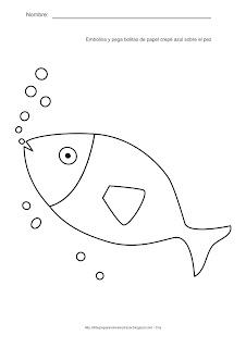 Actividades para estimulación temprana. Rasga, embolina y pega bolitas de papel crepé de color azul sobre el pez. Ayuda a tu niño a identificar, asociar  y relacionar el pez con el color azul