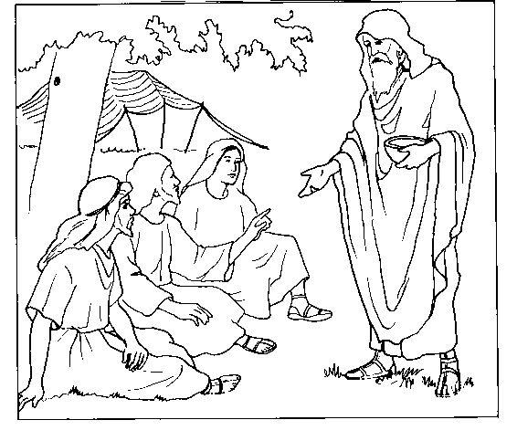 Abraham y los ángeles para colorear