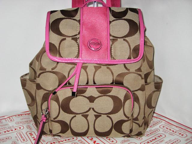 กระเป๋าเป้ COACH SIGNATURE STRIP KHAKI MULBERRY BACKPACK 21928  5604978 f0326d7c32