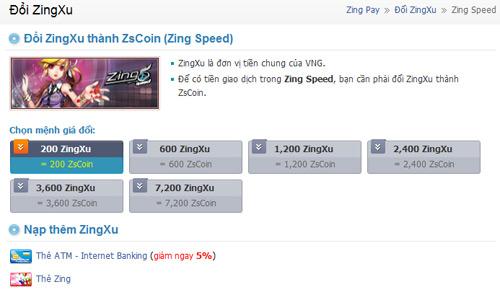 Zing Speed thay thế Zing Xu thành ZS Coin 1