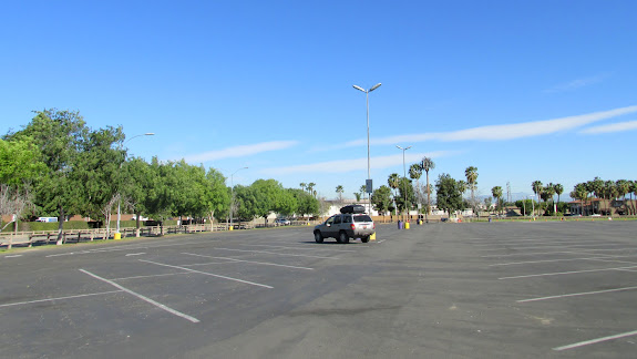 Jeep in a nearly empty parking lot at Knott's Berry Farm