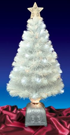 4-Ft Pre-Lit LED Color Changing White Fiber Optic Artificial Christmas Tree