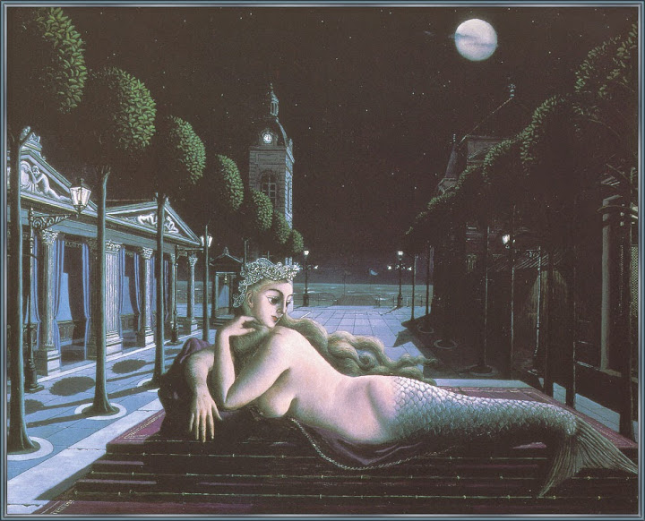 Paul Delvaux - A Siren In Full Moonlight
