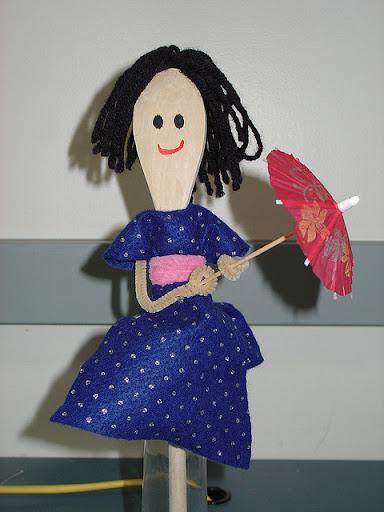 fantoche de colher boneca japonesa