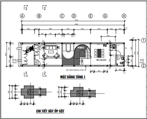 Mặt bằng tầng 1 và chi tiết xây ốp cột
