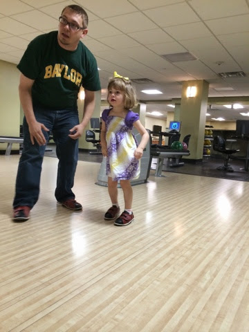 for the first 3 frames and then she wanted to just run and slide in her new bowling shoes