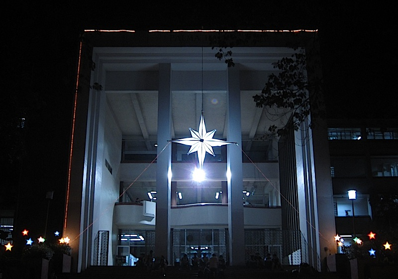 large white star decorating the Palma Hall of the University of the Philippines