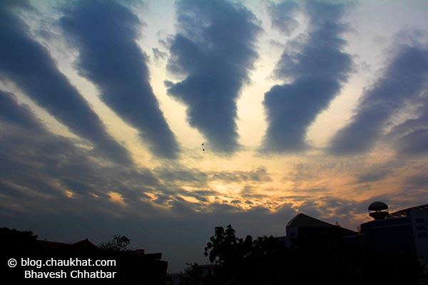 Beautiful evening sky with strange clouds over World Trade Park of Jaipur