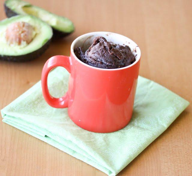photo of a avocado mug cake