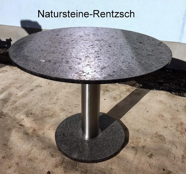 Runder esstisch wohnzimmertisch terrassentisch naturstein granittisch edelstahl ebay for Wohnzimmertisch edelstahl