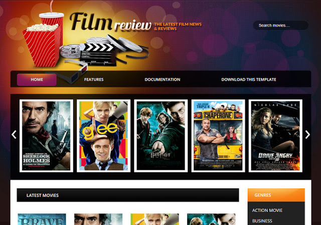 Film Reviews Blogger Template Free Download