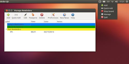 Indicator Remindor QT su Ubuntu
