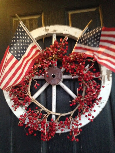 Red white and blue wreath, old wagon wheel wreath, patriotic wreath