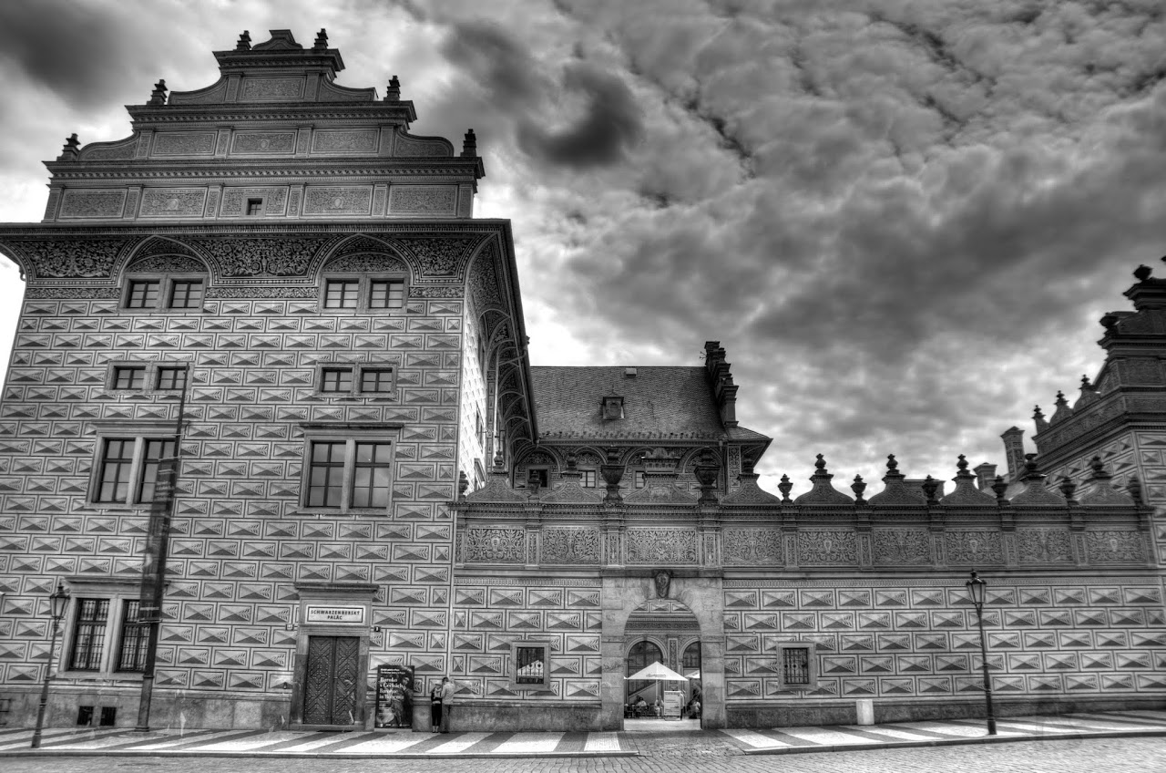 Prague buildings in black and white