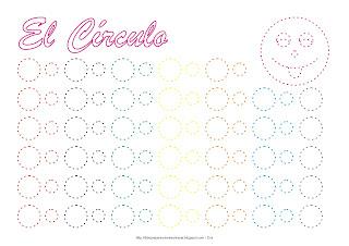 Dibujo para delinear y trazar la figura geométrica el círculo en colores